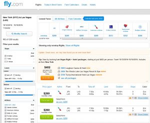 NYC to Las Vegas: Fly.com Results