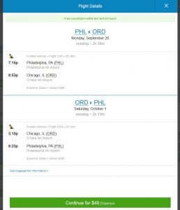 PHL-CHI: Priceline Booking Page