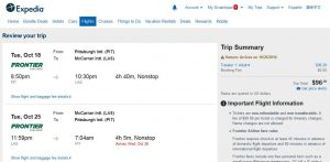PIT-LAS: Expedia Booking Page ($97)