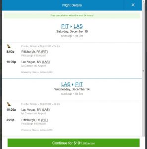 PIT-LAS: Priceline Booking Page ($102)