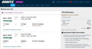 SEA-CHI: Orbitz Booking Page