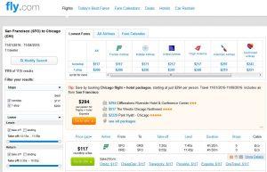 SFO-CHI: Fly.com Search Results ($117)