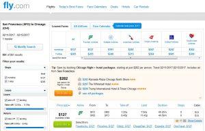 SFO-CHI: Fly.com Search Results ($127)