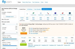 SFO-CHI: Fly.com Search Results