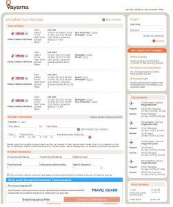 SFO-ICN: Vayama Booking Page