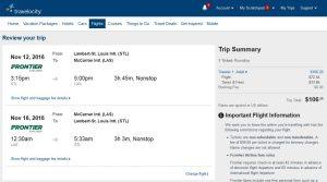 STL-LAS: Travelocity Booking Page