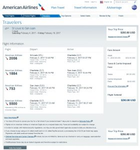 STL-SJU: American Airlines Booking Page