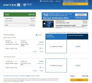 San Francisco to Beijing: United Airlines Booking Page