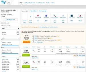 San Francisco to Los Angeles: Fly.com Results