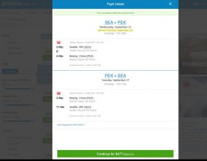 Seattle to Beijing: Priceline Booking Page