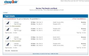 Seattle to Munich: CheapOair Booking Page