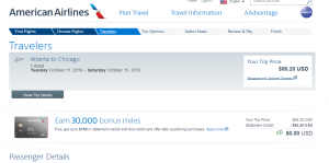 Atlanta to Chicago: AA Booking Page