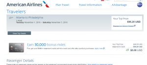 Atlanta to Philly: AA Booking Page