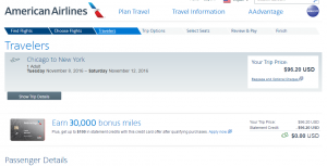 Chicago to NYC: AA Booking Page