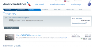 Charlotte to Philly: AA Booking Page