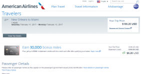 New Orleans to Miami: AA Booking Page
