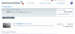 NYC to Antigua: AA Booking Page