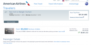 NYC to Raleigh:AA Booking Page