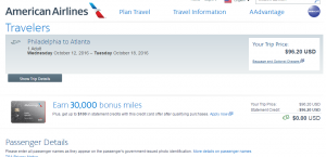 Philly to Atlanta: AA Booking Page