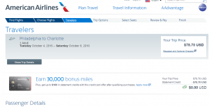 Philly to Charlotte: AA Booking Page