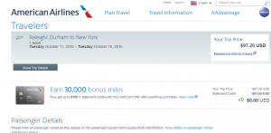 Raleigh to NYC: AA Booking Page