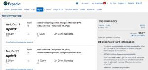 Baltimore to Fort Lauderdale: Expedia Booking Page