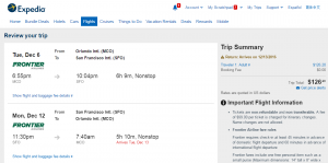 Orlando to SF: Expedia Booking Page