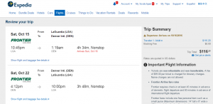 NYC to Denver: Expedia Booking Page