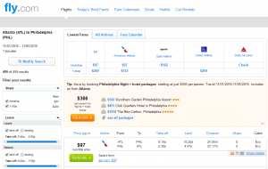 Atlanta to Philly: Fly.com Results Page