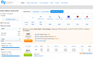 Boston to Austin: Fly.com Results Page