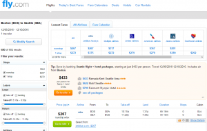 Boston to Seattle: Fly.com Results Page