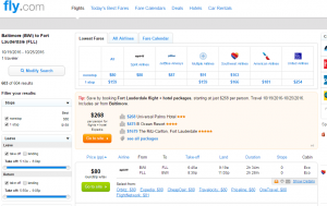Baltimore to Fort Lauderdale: Fly.com Results Page