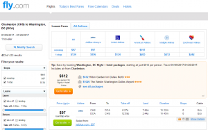 Charleston to D.C.: Fly.com Results Page