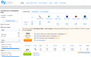 Charlotte to Philly: Fly.com Results Page