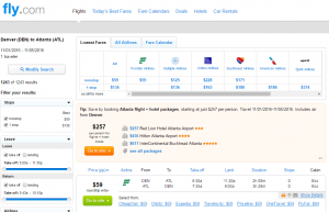 Denver to Atlanta: Fly.com Results Page