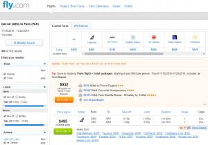 Denver to Paris: Fly.com Results Page