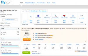 Las Vegas to NYC: Fly.com Results Page