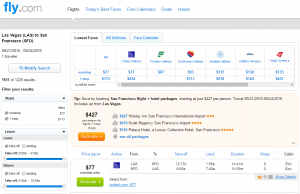 Vegas to SF: Fly.com Results Page