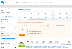 LA to Bali: Fly.com Results Page