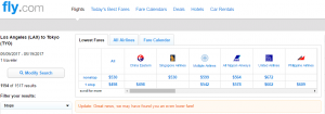 LA to Tokyo: Fly.com Results Page
