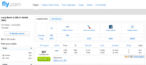 Long Beach to Seattle: Fly.com Results Page