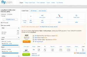 Long Beach to SF: Fly.com Results Page