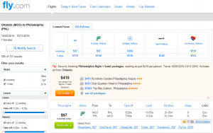 Orlando to Philly: Fly.com Results Page
