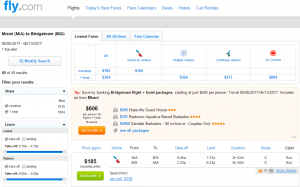 Miami to Barbados: Fly.com Results Page