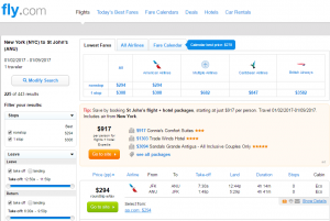 NYC to Antigua: Fly.com Results Page