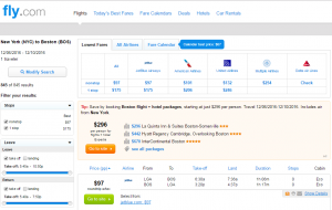 NYC to Boston: Fly.com Results Page