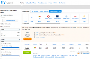 NYC to Marseille: Fly.com Results Page