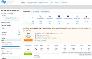 NYC to Raleigh: Fly.com Results Page