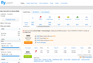 NYC to Rome: Fly.com Results Page