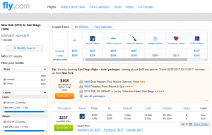 NYC to San Diego: Fly.com Results Page